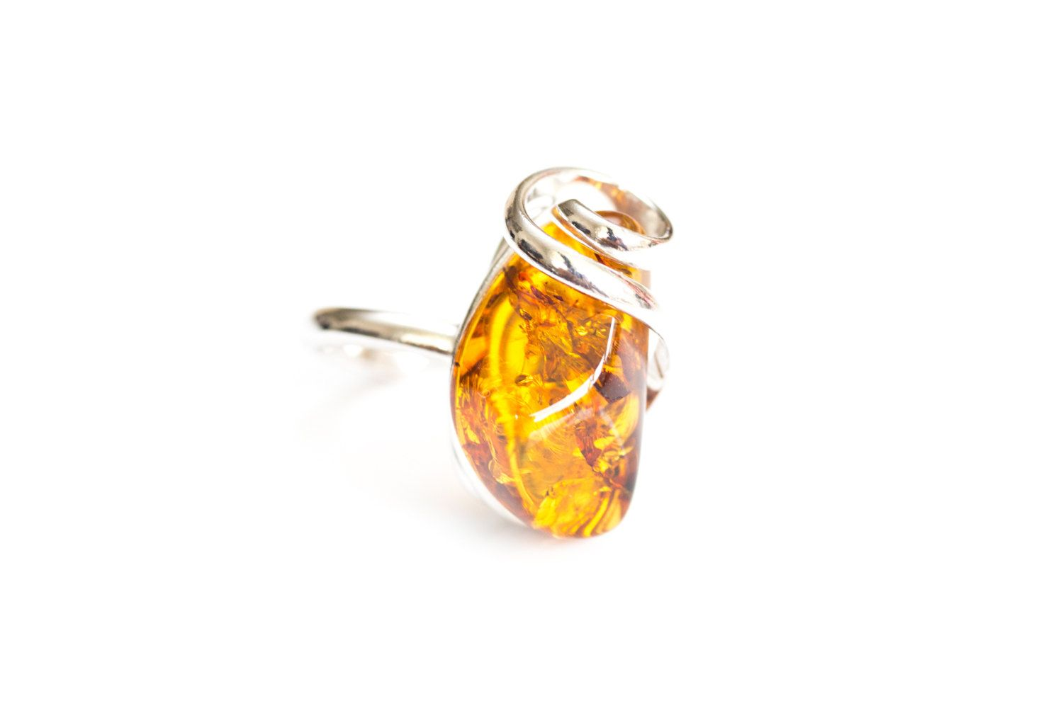 Unique Amber Adjustable Ring, baltic amber & sterling silver ring, amber ring, fully adjustable ring, fashionable ring, amber statement ring by BalticBeauty925 on Etsy
