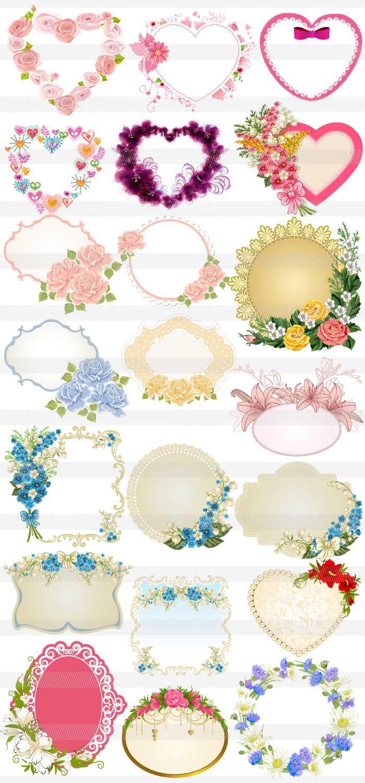 花柄のフレーム装飾素材 | イラスト | pinterest | フレーム、花柄、装飾