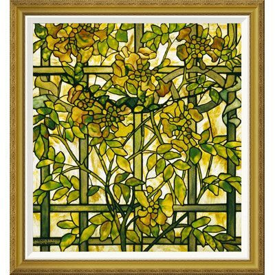 Global Gallery Trumpet Vine By Tiffany Studios Framed Graphic ảt Painting Frames Tiffany Stained Glass Window Art