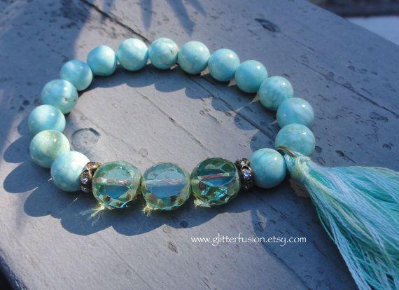 blue turquoise bracelet with bohemian glass beads handmade boho