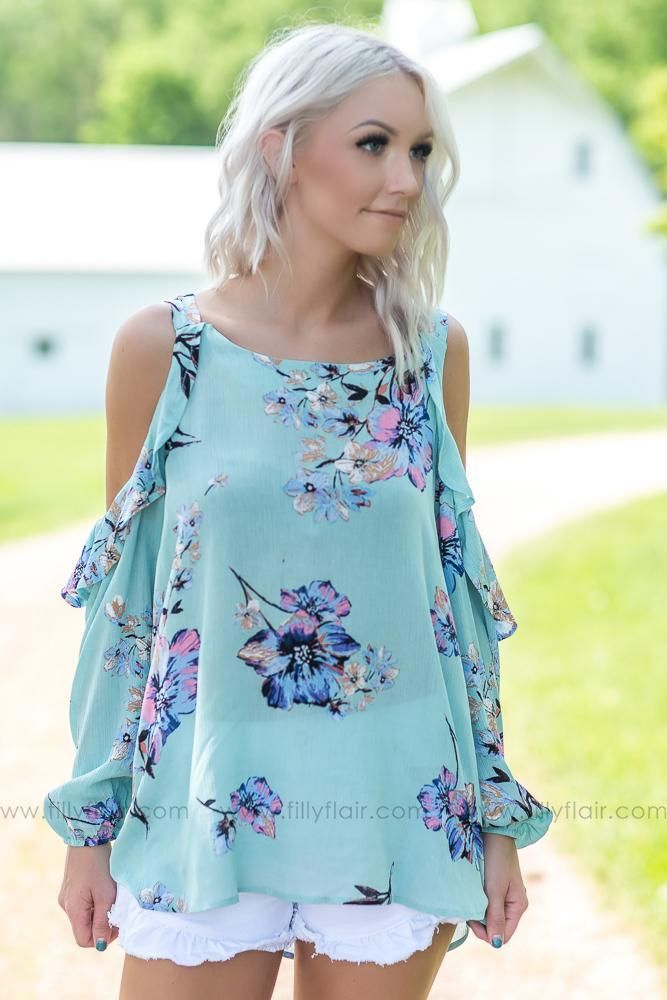 7a77ca107c What You Wish For Cold Shoulder Floral Top In Robin s Egg Blue