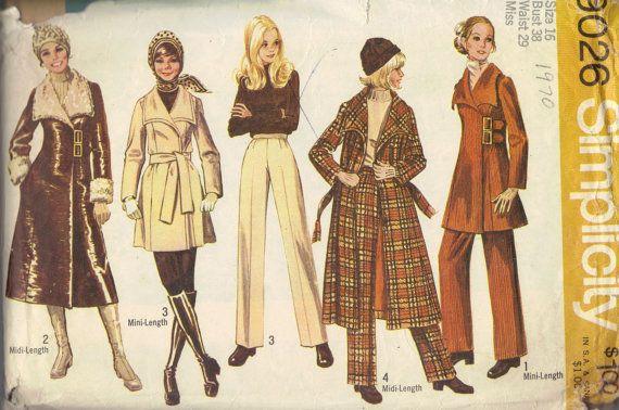 1970s Simplicity Sewing Pattern Trench Coat Midi Mini