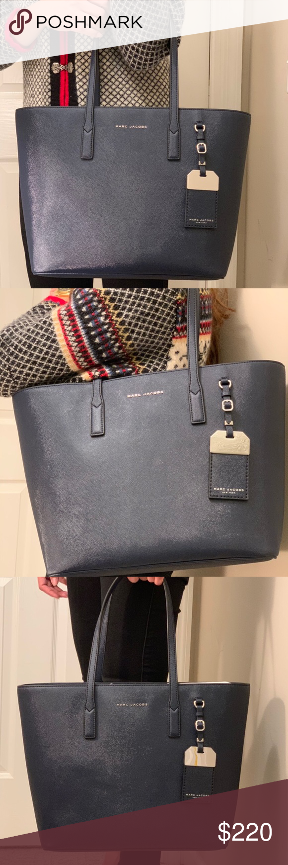 Marc Jacobs Luggage Tag Tote Bag Indigo Leather Chic Accessories Bags Marc Jacobs Bag