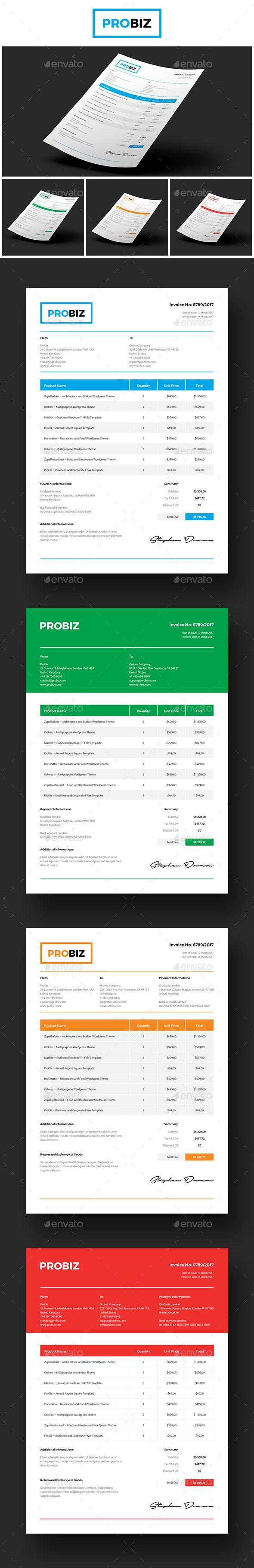 probiz business and corporate invoice template indesign