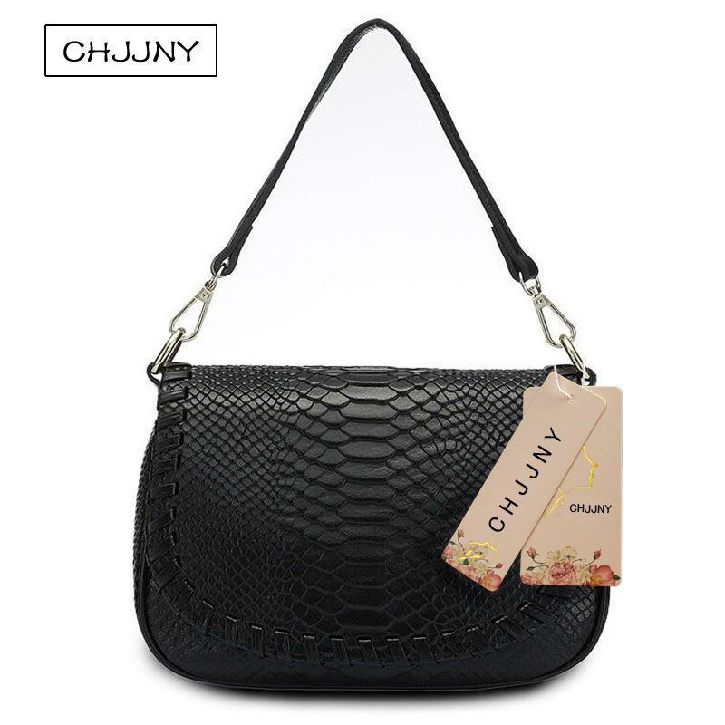 f8778e701fd7 CHJJNY 2017 newest fashion style serpentine women genuine leather crossbody  bag messenger bags