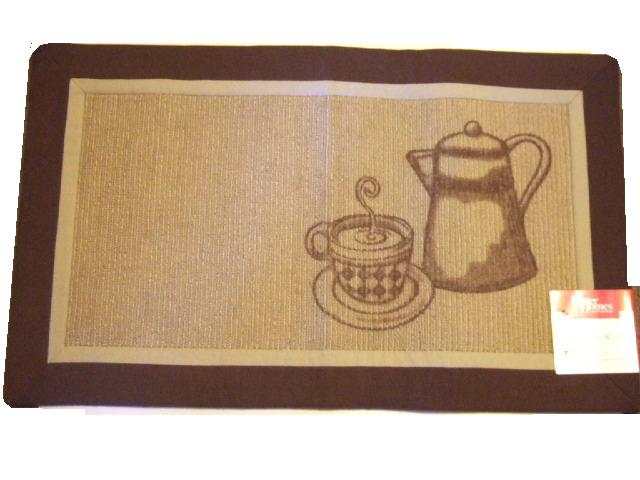 this coffee themed rug features a coffee pot, cup of coffee and