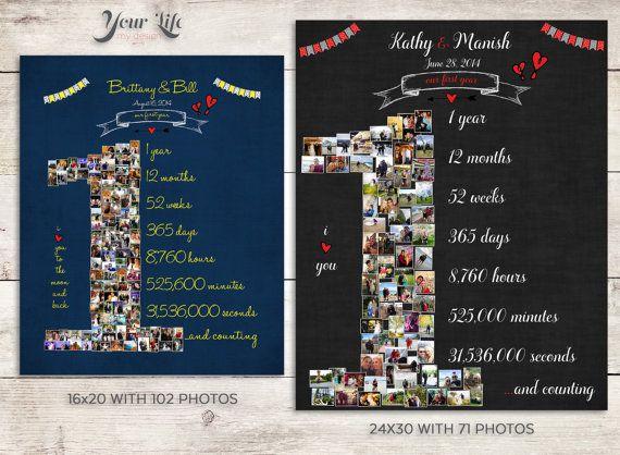 1st anniversary anniversary photo collage anniversary gift for