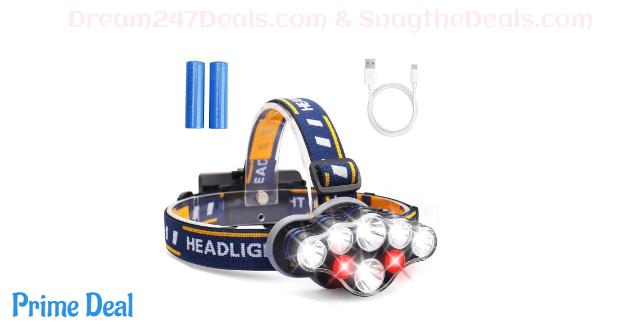 USB Rechargeable Headlamp Flashlight,8 LED 13000 Lumen 8 Modes 18650 Flashlight Head Lights with Red Light