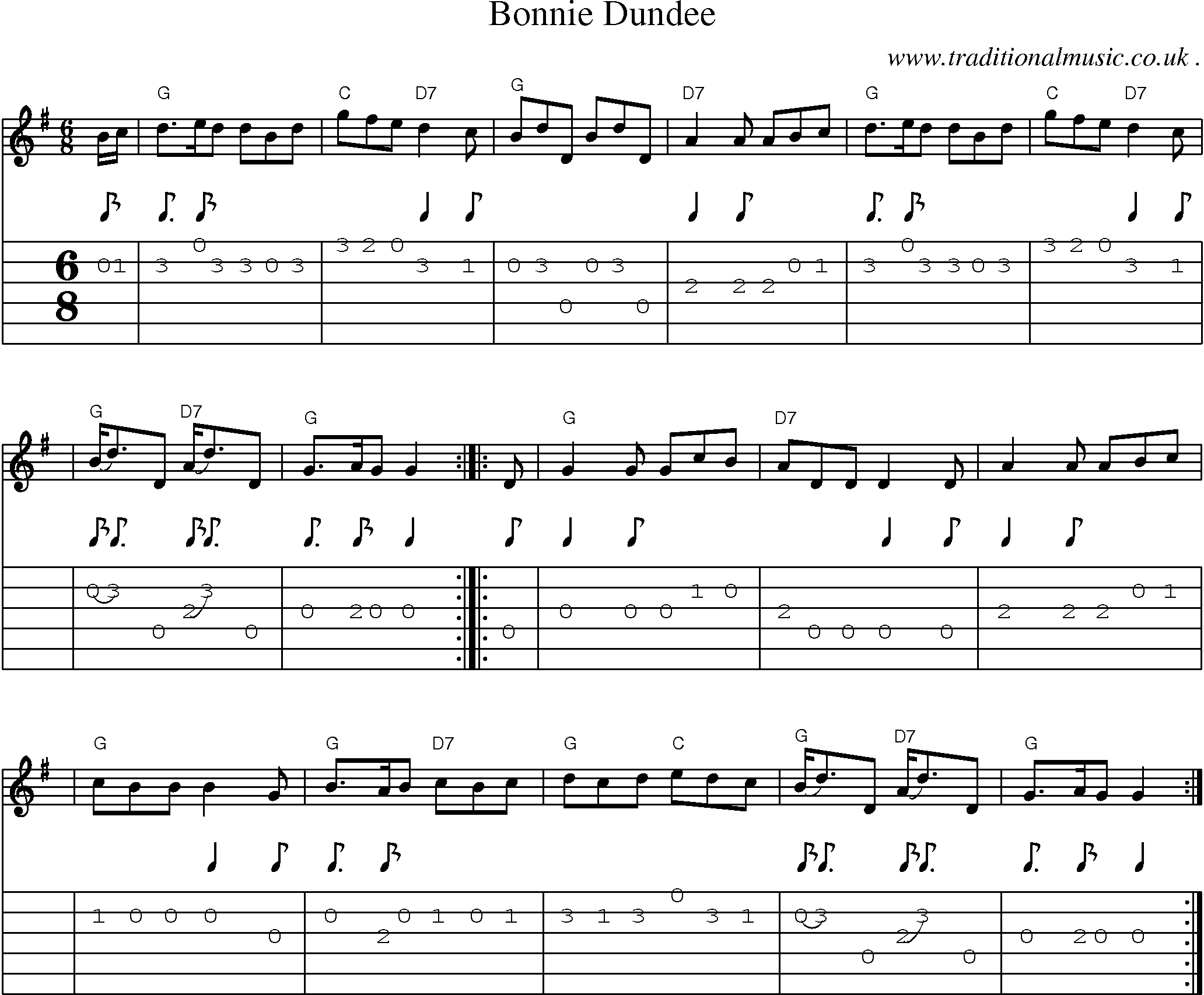 Scottish Tune Score Guitar Chords Tabs Bonnie Dundee Guitar