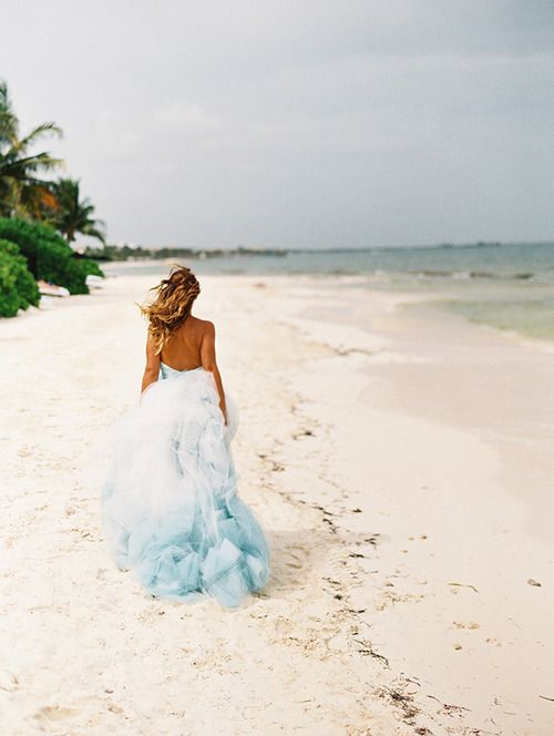 Dusty Blue Color For Beach Wedding At Home With Stunning Ocean