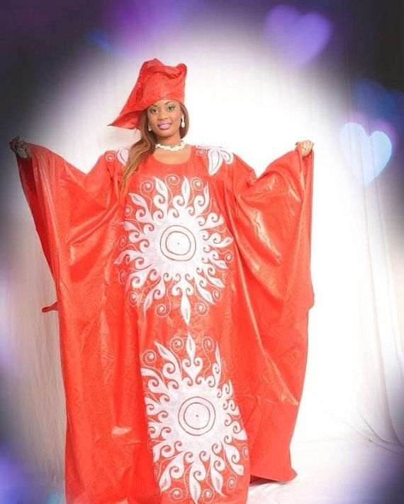 Red African Brocade Grand Boubou By Newafricandesigns On Etsy
