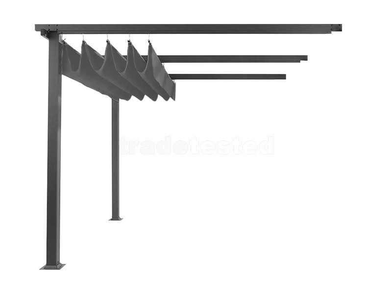 Wall Mounted Pergola With Retractable Canopy 3m X 4m At Trade Tested Wall Mounted Pergola Backyard Canopy Diy Canopy