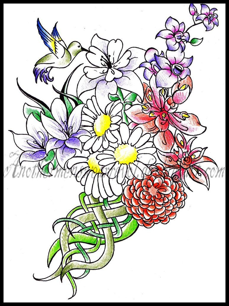 Bouquet tattoo on thigh with birth flowers for family primrose for