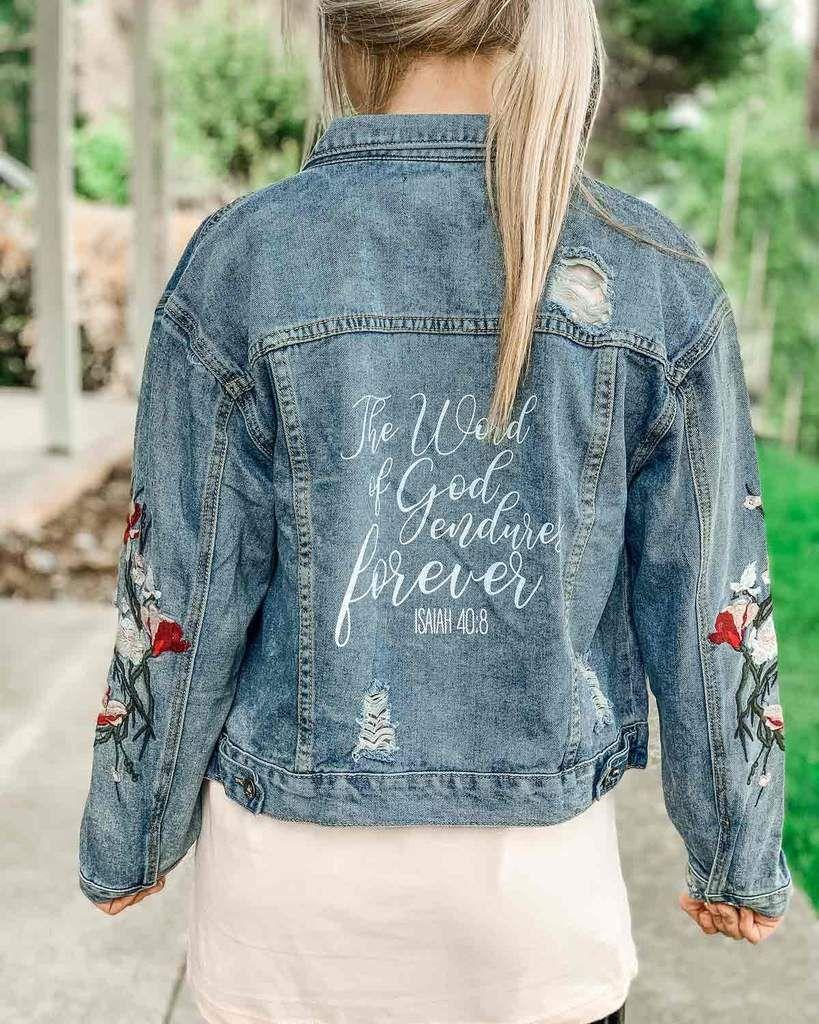 Scripture Flower Jean Jacket Jackets Flower Jeans Jean Jacket [ 1024 x 819 Pixel ]