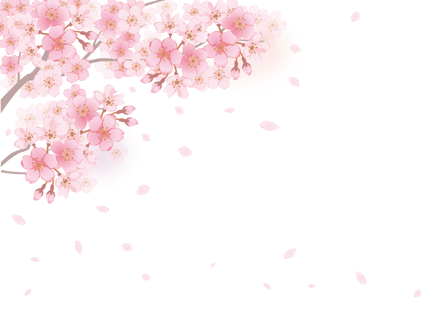 フリーイラスト 桜の花と舞い落ちる花びらの背景