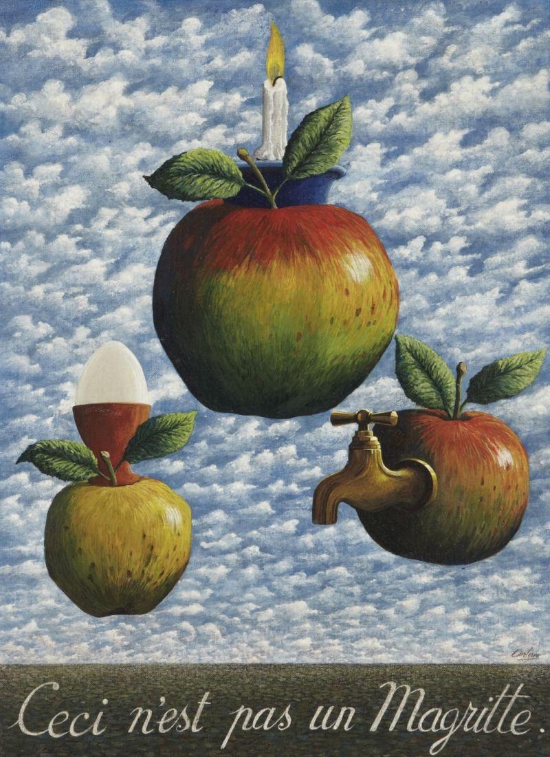 Jacques CARELMAN(1929-2012) Ceci n'est pas un Magritte, 1976 Acrylique sur toile marouflée sur carton Sold 8 500€ with Artprecium #artauction