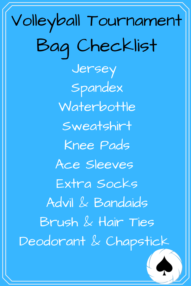 Volleyball Bag Checklist Volleyball Bag Volleyball Workouts Volleyball Tournaments
