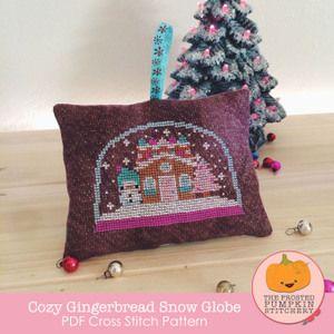 Image of Cozy Gingerbread Snow Globe PDF Cross Stitch Pattern