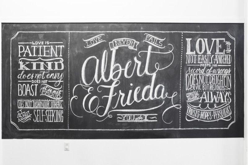 Wedding chalkboard lettering written word calligraphy design