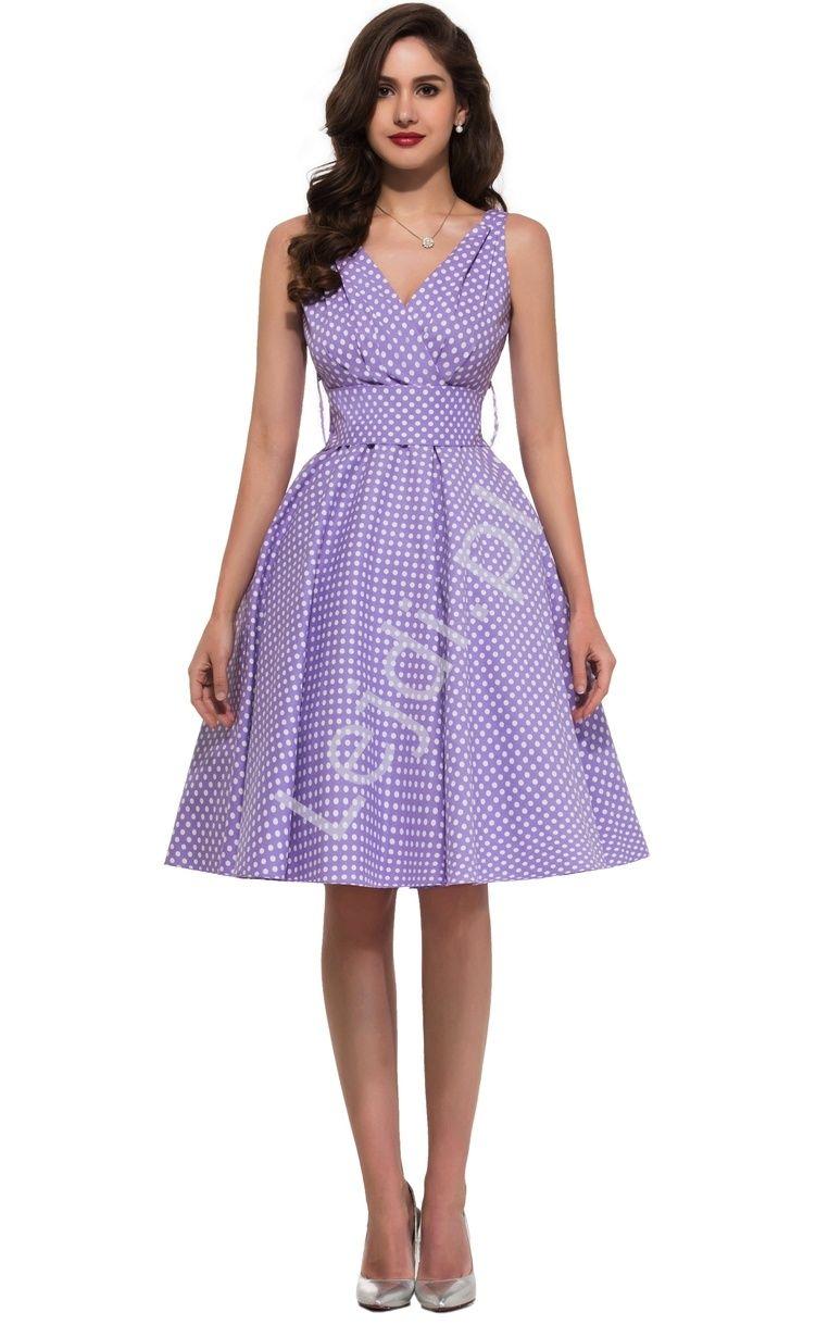 af5c6d1f3d Wrzosowa rozkloszowana sukienka w kropki
