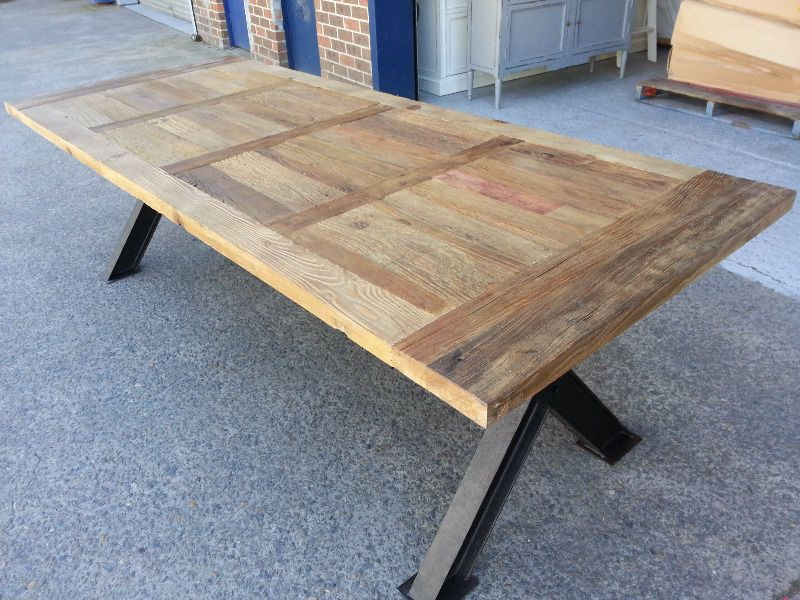 NEW INDUSTRIAL RECYCLED VINTAGE RUSTIC TIMBER TABLE - 300 x 120cm