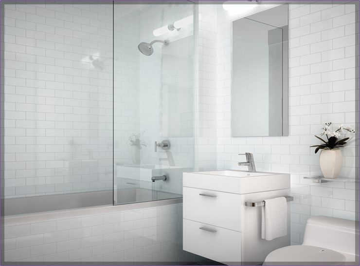 kids bathroom- tub w glass door, wht subway Bathroom inspiration