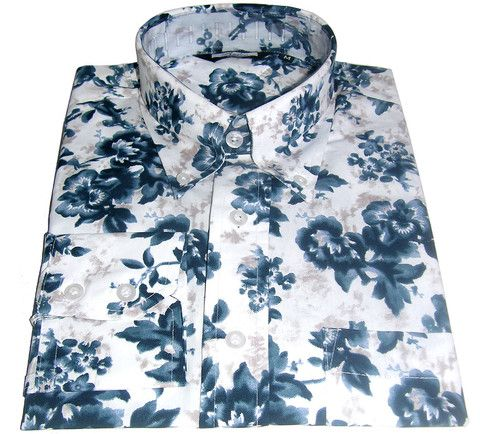 Shirt Navy Blue Retro Floral Pattern Vintage Design | CXLondon.Com ...