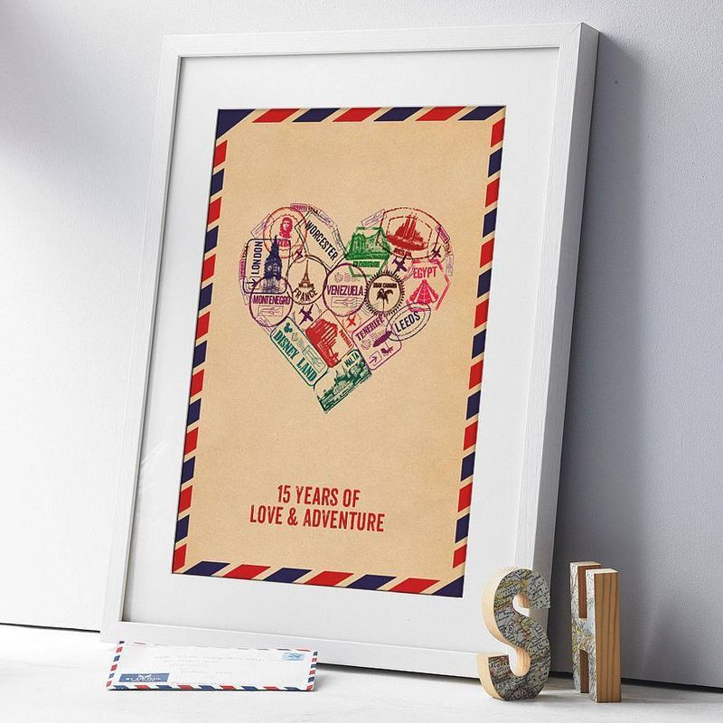 Personalised Passport Stamps Heart Print