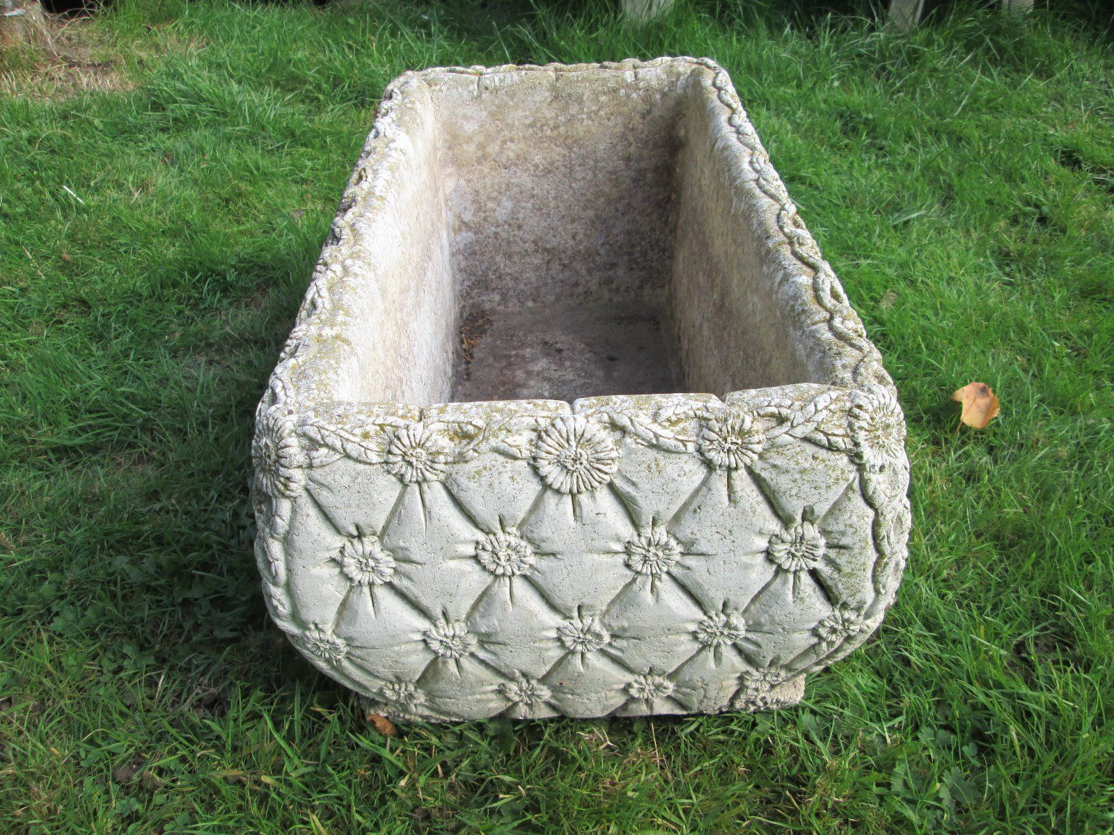 decorative stone/concrete garden trough/planter - handbag/material