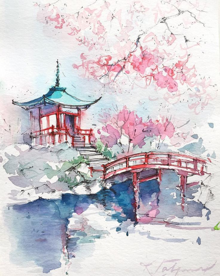 Architecture Aquarelle Japonaise Japon Illustration Et Peinture