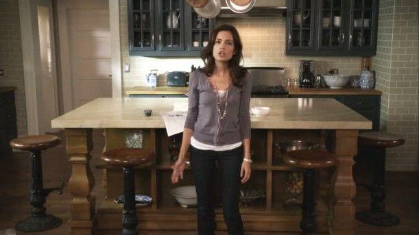 I Love Spencer Hastingsu0027s Kitchen In Pretty Little Liars. Black Cabinets On  A Taupe Subway Tile Back Splash.