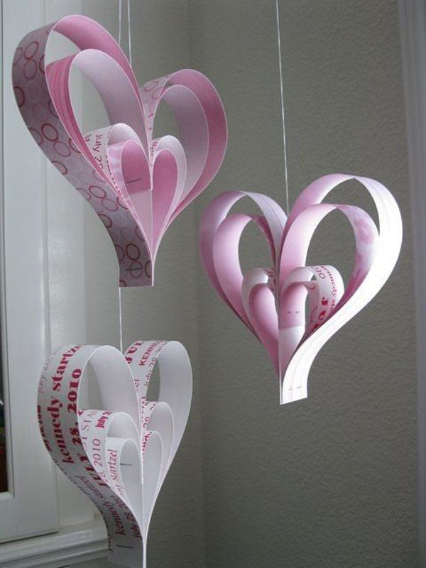 Create A Heart Chandelier Made Out Of Craft Papers S And Strings
