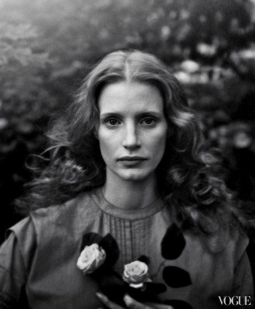 'Work of Art' Jessica Chastain by Annie Leibovitz for Vogue US December 2013