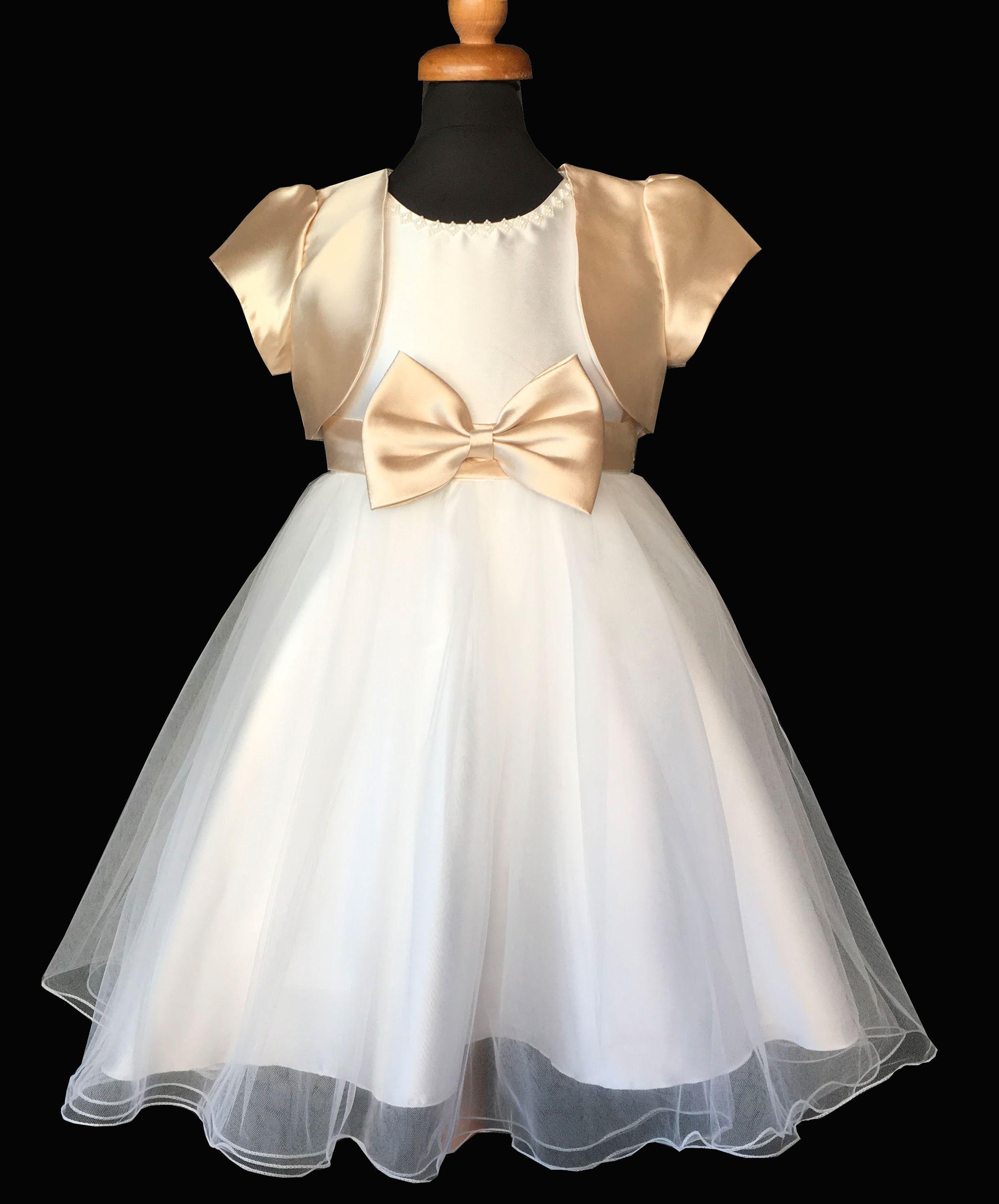 cd338c61d87 Παιδικό Φόρεμα σε Λευκό και Χρυσαφί για Παρανυφάκι, Πάρτυ, Βάπτιση