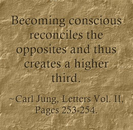 Becoming conscious reconciles the opposites and thus creates a higher third. Carl Jung