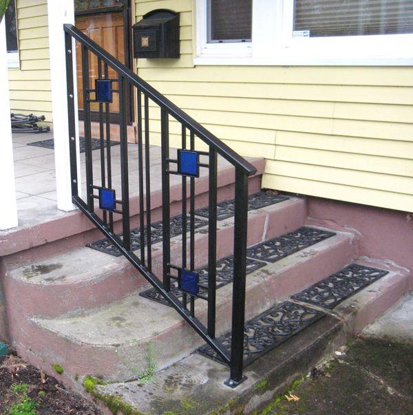 Best Craftsman Stair Railings W Glass Powder Coated Steel Fences Pinterest Craftsman Steel 400 x 300