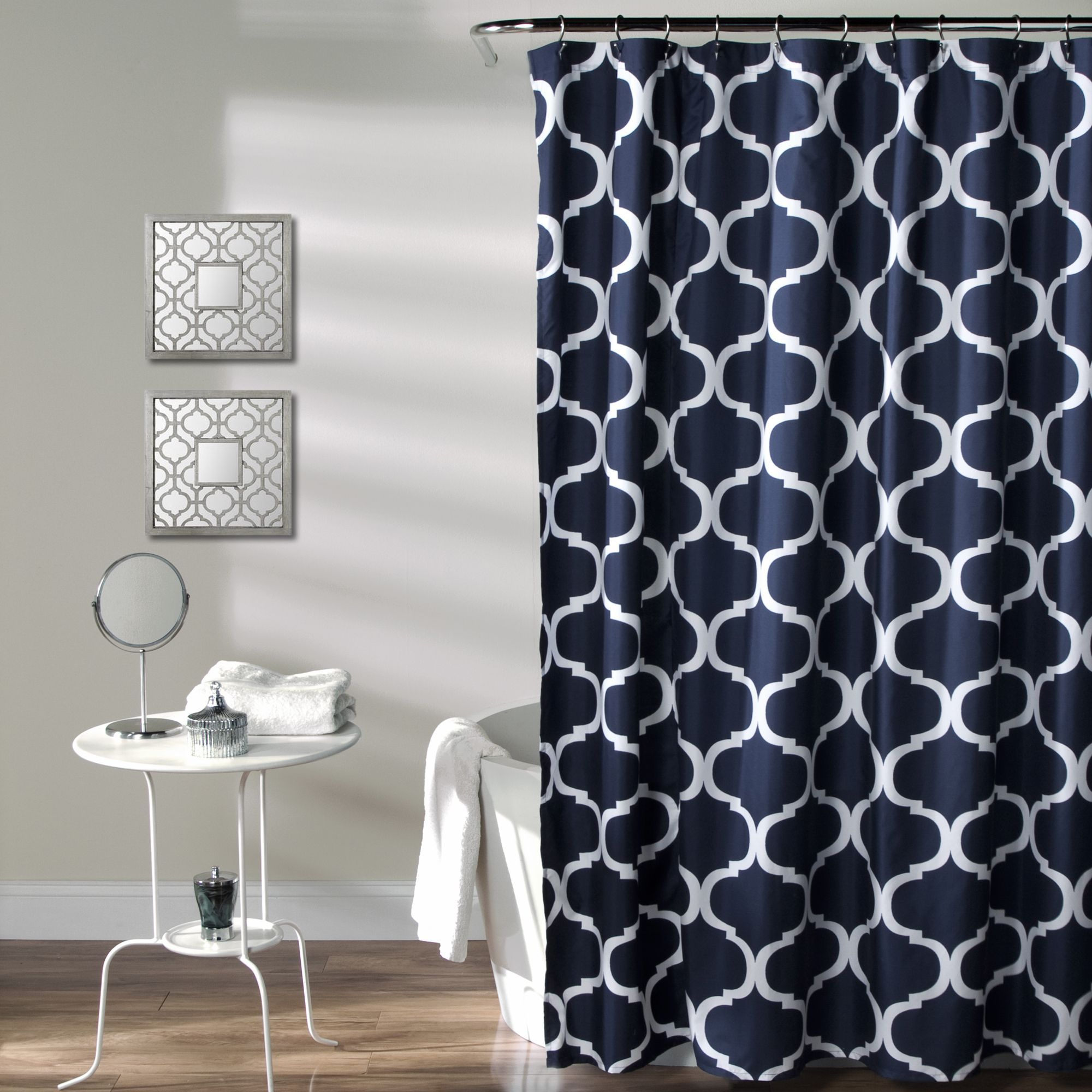 Chic and versatile this lush decor shower curtain is sure to liven