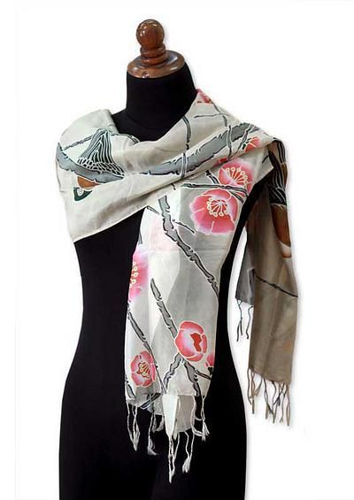 Hand Painted Silk Batik Shawl - Cherry Blossoms | NOVICA
