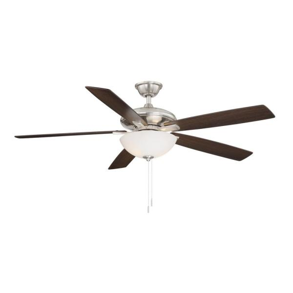 Hampton Bay Abbeywood 60 In Led Brushed Nickel Ceiling Fan With Light Kit Yg882a Bn The Home D In 2020 Brushed Nickel Ceiling Fan Ceiling Fan With Light Ceiling Fan