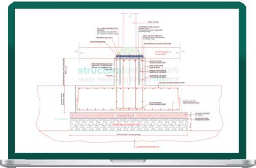 Steel Column Supported on Strip Foundation CAD dwg drawing detail