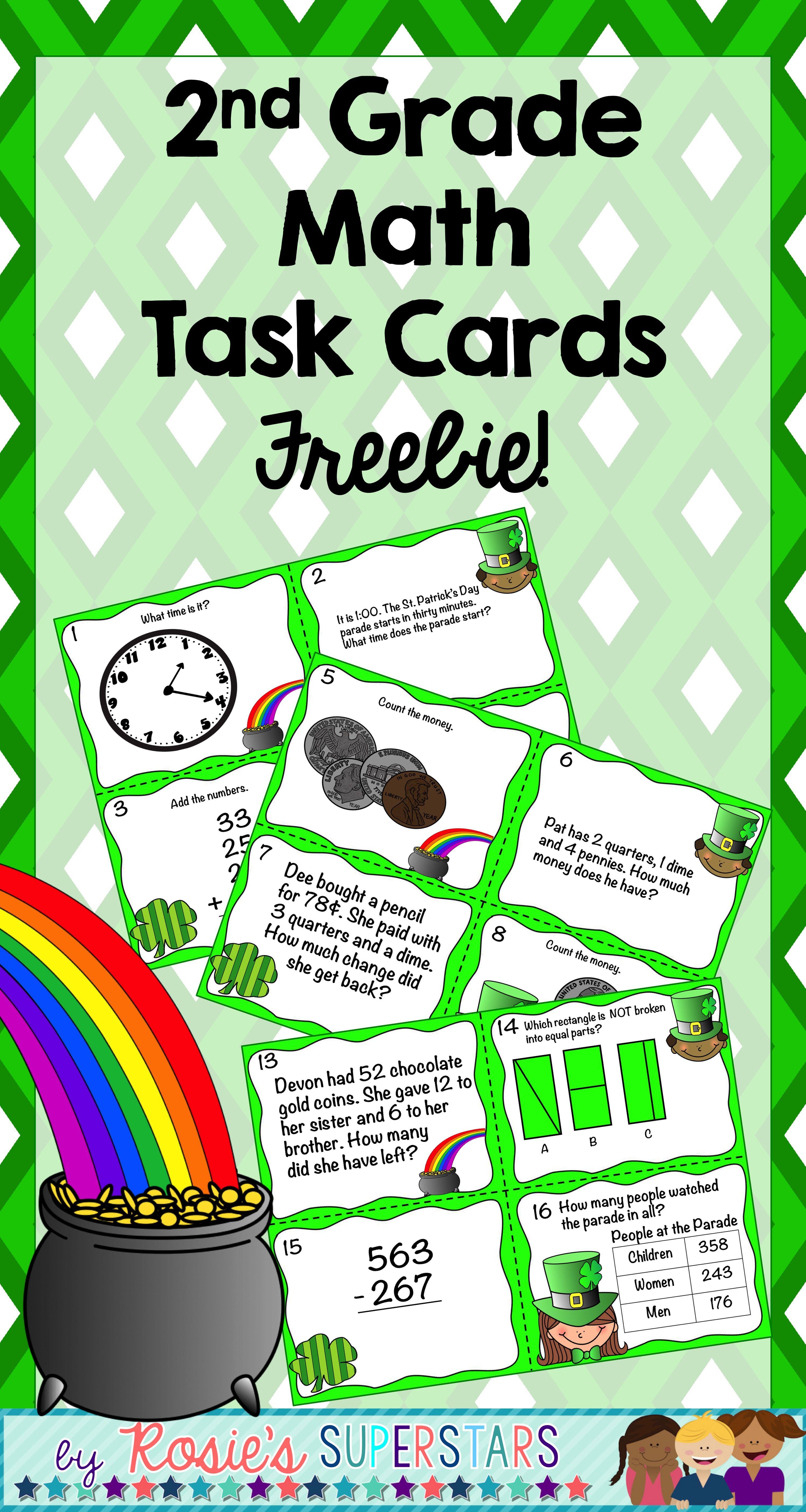 St Patrick S Day 2nd Grade Spiral Math Task Cards Freebie