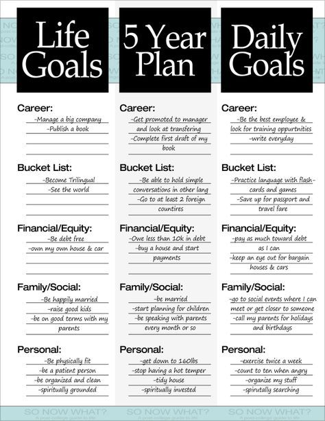 5 year plan example Personal development Pinterest Goal - life plan template