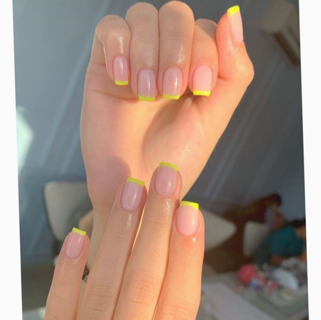 10 Nail Acrylic Short Neon Swag Nails Short Acrylic Nails