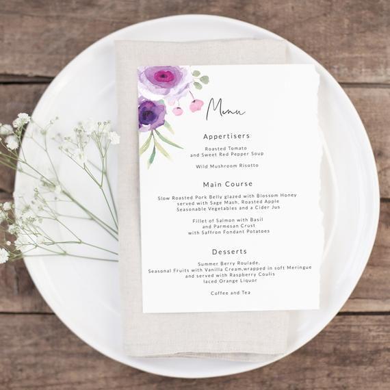 Wedding Menu Template, Printable Wedding Menu, 5x7 Editable Wedding Menu, Floral Wedding Menu, TEPL220 #weddingmenutemplate