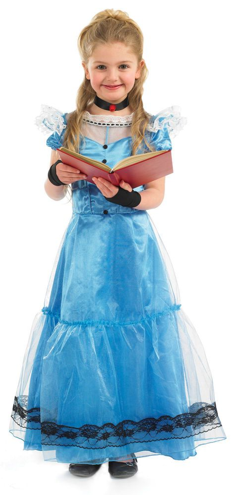 3146ea06a Girls Long Alice In Wonderland Dress. Blue long dress with black buttons  down front. Black choker with red rose bud. black fingerless gloves.