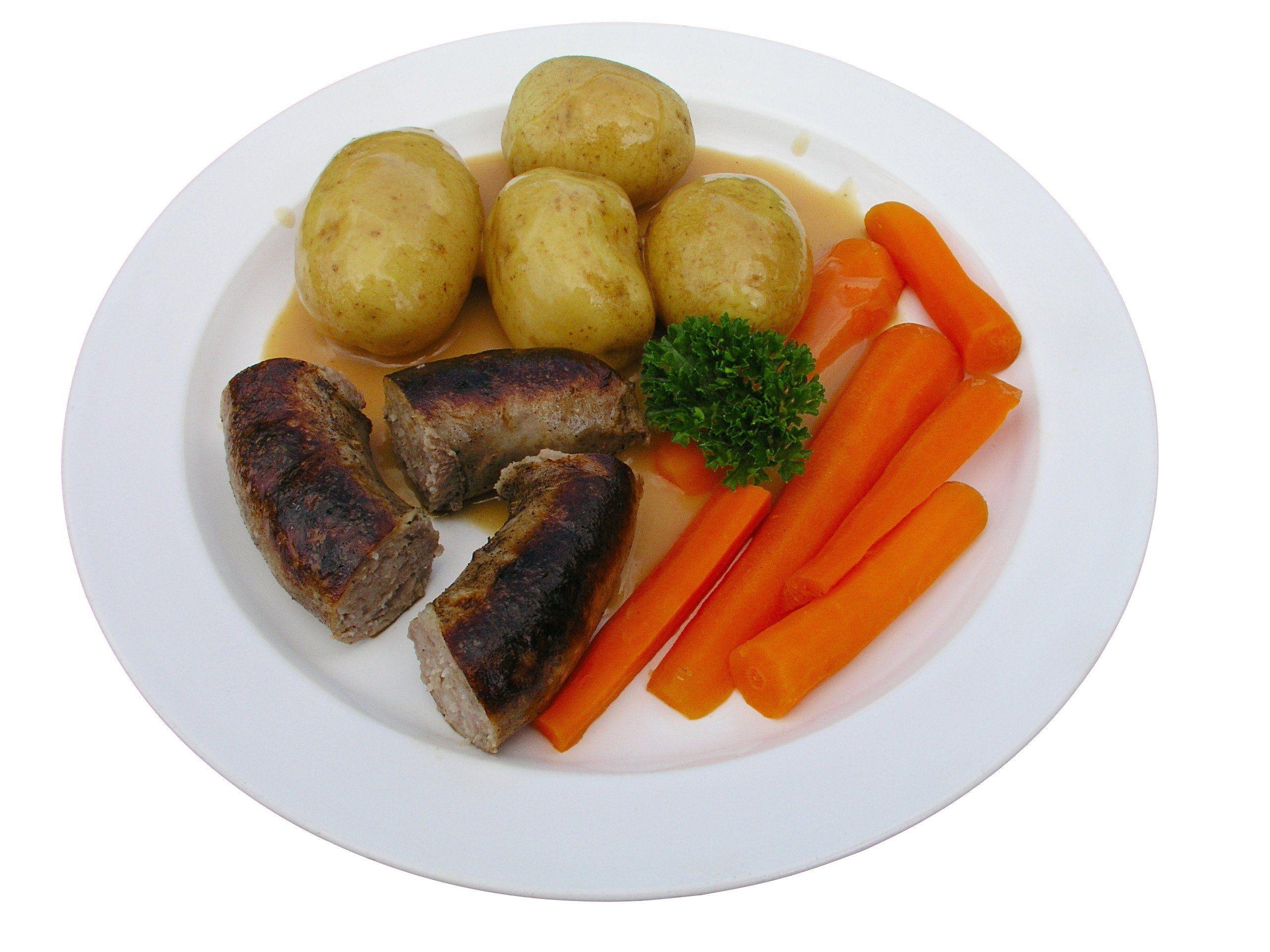 Medisterpølse med grøntsager