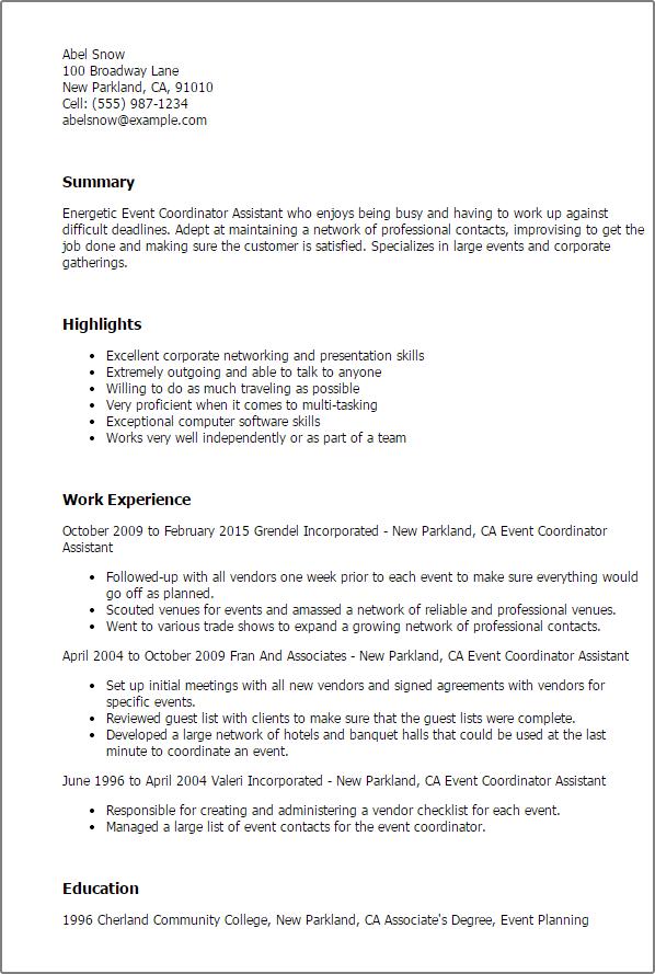 Event Planner Description Resume Persepolisthesis Web Fc2