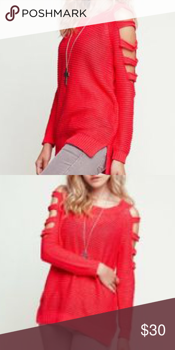 Open cut arm sweater Open cut sleeves chunky knit sweater with side slits. Identical to the model on photos 1 and 2. Color is a vibrant coral. Purchased from Pacsun. Like new condition. Nollie Tops Tees - Long Sleeve