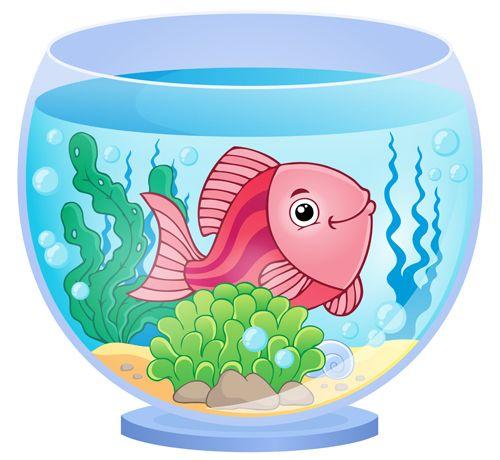 Aquarium With Fish Cartoon Vector Set 09 Didakticheskij