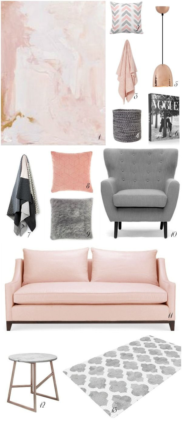 Best Blush Grey And Copper Room Inspiration Living Room 640 x 480